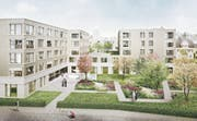 Visualisierung des Alters- und Pflegezentrums in Gossau, das für etwa 48 Millionen Franken realisiert werden soll. (Bild: Visualisierung: Gähler Architekten)