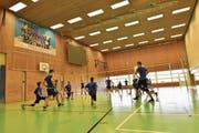 Trainer Dritan Cuko (4. v. l.) leitet das Einwärmen der Volleyballschüler in der Tellenfeld-Sporthalle. (Bild: Tobias Bolli)