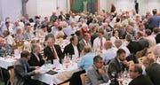 Rund 280 Aktionäre besuchten in der «Sonne» in Altstätten die 142. Generalversammlung der Appenzeller Bahnen. (Bild: Max Pflüger)