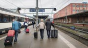 Noch hält der Eurocity 191 St. Margrethen–München um 8.42 Uhr in St. Margrethen. Der Halt des beschleunigten EC ab 2021 ist aber in Gefahr. (Bild: Benjamin Manser)