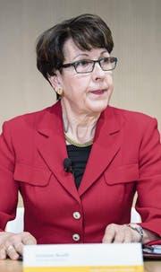 Post-Chefin Susanne Ruoff an einer Medienkonferenz in Bern. (Bild: Peter Schneider/Keystone (6. Februar 2018))
