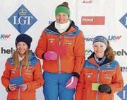 Das IR-Podest in der Kategorie Mädchen ist fest in OSSV-Hand: Lara Baumann, Aline Höpli und Lea Sophia Mettler (von links). (Bild: pd)