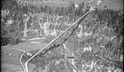 Die Haggenbrücke, im Volksmund Ganggelibrugg genannt, zwischen St. Gallen-Haggen und Stein wurde 1937 eröffnet. Hier eine Aufnahme von 1949. (Bild: ETH-Bibliothek Zürich/Fotograf: Werner Friedli)
