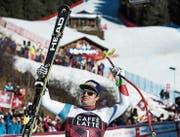 Beat Feuz bejubelt seinen Sieg in der Lauberhornabfahrt. (Bild: Peter Schneider/KEY (Wengen, 13. Januar 2018))