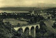 Die einspurig genutzte Brücke vor Goldach zur Zeit des Dampfbetriebs in den frühen 1920er-Jahren. (Bild: Sammlung Anton Heer)