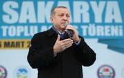 Erdogan bei einer Rede im Westen der Türkei. (Bild: KAYHAN OZER (AP Pool Presidential Press Service))