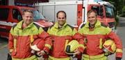 Die Feuerwehren Wartau, Sevelen und Buchs überprüfen gemeinsam ihre Strukturen. Möglicherweise arbeiten die Mannschaften von Simon Stauffacher (Wartau), Christian Hagmann (Sevelen) und Marcel Senn (Buchs) bald enger zusammen. (Bild: PD)