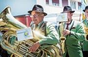 Musikanten der Musikgesellschaft Scherzingen beim Marschmusikwettbewerb. (Bild: Andrea Stalder)