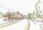 Visualisierung des abgelehnten Projekts: Bei der Münchwiler Bahnhaltestelle hätte künftig Tempo 30 gegolten. (Bild: PD)