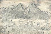 Zeichnung und Beschreibung des Vesuvausbruchs im Jahr 1737, Stiftsbibliothek St. Gallen. (Bild: pd)