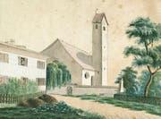 Pfarrhaus und Kirche von Oberneunforn, wie sie der spätere Fabrikant Caspar Züblin-Züblin (1805 bis 1865) im Jahr 1821 gemalt hat. (Bilder: Staatsarchiv des Kantons St. Gallen)