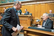Markus Ritter und Bundesrat Johann Schneider-Ammann haben das Heu derzeit nicht auf der gleichen Bühne. (Bild: Anthony Anex/Keystone (Bern, 15. September 2016))