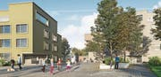 Begegnungszone Neualtwil: So soll das zu erbauende Mittelstück des Quartiers aussehen. Über den Verlauf der Wege gibt es nun einen Konsens. (Bild: Visualisierung: PD)