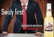 Die Mosterei Möhl wirbt mit dem Sujet des umstrittenen US-Präsidenten Donald Trump für ihren Cider Swizly. (Bild: PD)