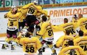 Der Moment, als der Meistertitel feststand: Die Spieler des SC Bern jubeln über die Titelverteidigung. (Bild: Alexandra Wey/KEY)