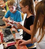 Schüler der Informatikklasse bauen in der ersten Lektion einen Kleinstcomputer, den Raspberry Pi 3, zusammen. (Bild: Manuel Nagel)