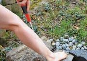 Beim Schenkelguss wird ein kalter Wasserstrahl vom Fuss bis über das Gesäss geführt. Auch eines Wasserschlauchs kann man sich dazu bedienen. (Bild: rf)
