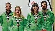 Bronzemedaille für das Grabser Elite-Team, bestehend aus Michael Kaiser, Martina Kaiser, Tanja Kressig und Jan Kressig (von links). (Bilder: PD)