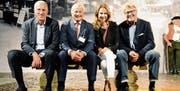Regula Späni moderierte die Begegnung mit Pierin Vincenz, Christoph Schredt und Bernhard Russi (von links). (Bilder: Hansruedi Rohrer)