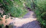 Erdrutsch: Der Bruggmühleweg ist gesperrt; ein Hangrutsch droht. (Bild: Rudolf Hirtl oceandesign@bluewin)