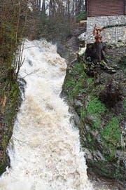 Der sonst eher beschauliche Glathbach wurde gestern zum reissenden Gewässer. (Bild: Heini)