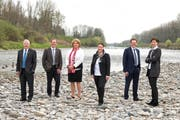 Der Thurgauer Regierungsrat: (von rechts nach links) Monika Knill, Jakob Stark, Carmen Haag, Cornelia Komposch und Walter Schönholzer. Ganz links im Bild Staatsschreiber Rainer Gonzenbach. (Bild: pd)