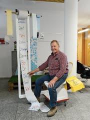 Endlich mehr Zeit, auch «für Sitzungen»: Walter Müller setzte sich bei der Verabschiedung auf ein besonderes, fahrbares WC mit «Power-clean»-Einrichtung. (Bild: Hansruedi Rohrer)