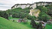 In dieser Felswand am Blattenberg wurde einst Kalkstein abgebaut. Hier möchte die Robert König AG das Lockermaterial abbauen und danach eine Deponie für sauberen Aushub und Bauschutt einrichten. (Bild: Max Tinner)