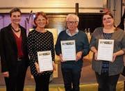 Stadträtin Helen Alder Frey mit Yvonne Hinder, Norbert Wenk und Silvia Frei (von links). (Bild: Manuela Bruhin)