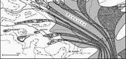 Der abschmelzende Rheingletscher (dunkel getönt) mit vermuteten Mittelmoränen, die wie auf Förderbändern Gestein aus den Alpen in den heutigen Bodenseeraum transportierten. (Bild: PD)