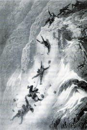 Der Absturz, zeichnerisch festgehalten von Gustave Doré.