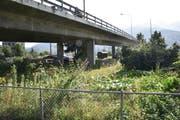 Die Situation zeigt, wo der Jugendpark am Bunkerweg, teils unter der SBB-Unterführung gelegen, dereinst entstehen soll. (Bild: Heini Schwendener)