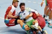 Schweizer Handballer gegen WM-Dritten Slowenien chancenlos (Bild: Walter Bieri/KEY)