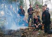 Die Pfadi Goldach bei einer ihrer Übungen im Wald. (Bild: David Fässler)