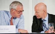 Auf dem Weg zum Unterhaltungskonzern: Michael Ringier (links) und sein CEO Marc Walder. (Bild: ky/Alessandro Della Bella)