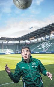 Nächstes Ziel AFG Arena: Boris Babic posiert dort, wo er gerne bald zum Einsatz käme. (Bild: Urs Bucher)