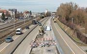 Die Baustelle zwischen Rheineck und St. Margrethen ist 8,3 Kilometer lang, hier der Blick von der Zollbrücke Rheineck–Gaissau in Fahrtrichtung St. Gallen. (Bild: Astra)