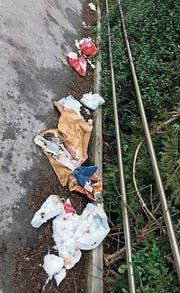 Am Bahnhof Rorschach Stadt bleibt immer wieder Abfall liegen. (Bild: Andreas Grüninger/Facebook (19. Februar))