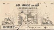 Eine Rechnung der Brauerei, ausgestellt im Jahr 1889.