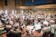 Die Jagdhornbläser von Jagd Thurgau stimmen auf die Generalversammlung im «Thurgauerhof» in Weinfelden ein. (Bild: Urs Bucher)