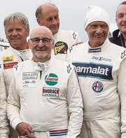 Markus Hotz (vorne) mit Marc Surer, Hans Stuck und Niki Lauda. (Bild: pd/Daniel Reinhard)