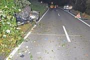 Ein betrunkener Autofahrer hat auf der Frauenfelderstrasse oberhalb von Steckborn einen Unfall verursacht. Daraufhin erlag ein 31-jähriger Insasse seinen schweren Verletzungen. (Bild: Kapo TG (9.10.2016))
