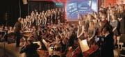 Gemeinsamen Spirit geweckt: Chor, Big Band und Orchester haben eine musikalische Glanzleistung auf die Bühne gezaubert. (Bild: Reinhold Meier)
