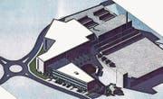 Die Visualisierung zeigt das geplante Hochregallager am Langdorfkreisel. Der zusätzliche Flügel mit dem Büroanbau in Richtung Allmend bleibt vorerst noch Zukunftsmusik. (Bild: PD)