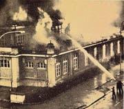 Brand in der Kühlschrankfabrikation 1962. (Bild: Archiv me)