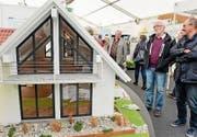 «inhaus»-Besucher bestaunen ein Modell. (Bild: Donato Caspari (März 2017))
