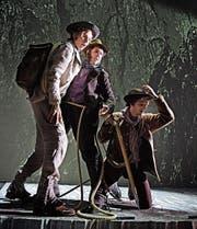 Oedo Kuipers, Martin Kiuntke und Nicolo Soller als Matterhorn-Bezwinger im Musical «Matterhorn». (Bild: Andreas J. Etter)