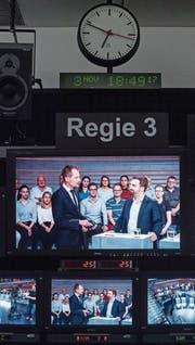 Blick in die Regie während der Aufzeichnung der Sendung «Arena» zum Thema «No Billag – Ja oder Nein?» des Schweizer Fernsehens. (Bild: Ennio Leanza/Keystone (Zürich, 3. November 2017))