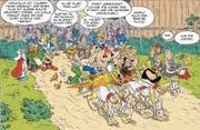 Szene aus dem neuen Asterix-Band: Die Helden brechen nach Italien auf, um am Wagenrennen teilzunehmen. (Bild: Les Éditions Albert René, 2017)