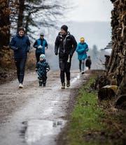 Auch OL-Schweizer-Meister Daniel Hubmann sucht mit seiner Familie nach den Zuckereili. (Bild: Reto Martin)